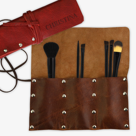 Custom Christina Leather Wrap Makeup Brush Holder Organizer