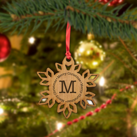Custom Christmas Initial Wood Snowflake Ornament