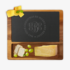 Custom Christmas Monogram Square Cheese Slate Board