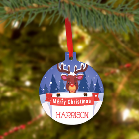 Custom Christmas Reindeer Tree Ornament