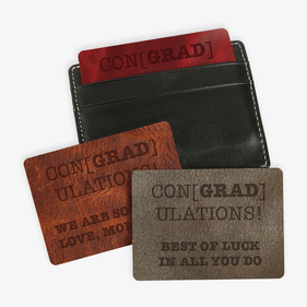 Custom ConGradulations Leather Wallet-Card Insert