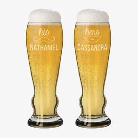 Custom Couples His and Hers Pilsner Beer Glasses