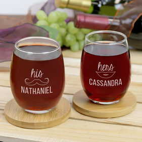 Custom Couples His and Hers Stemless Wine Glass