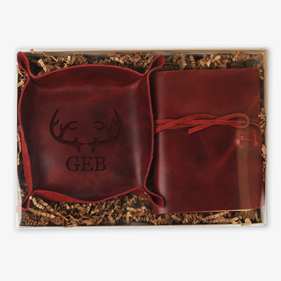 Custom Deer Antlers Boxed Stash Tray and Book Leather Gift Set