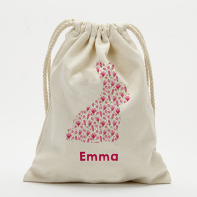 Exclusive Sale - Custom Easter Pink Floral Bunny Drawstring Sack