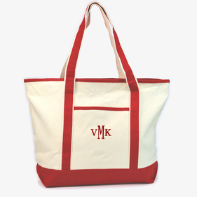 Custom Embroidered Jumbo Canvas Beach Tote Bag