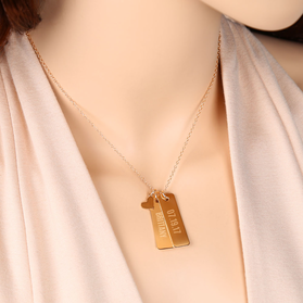 Engraved Bar Necklace With Heart Charm  (Gold Over Silver)