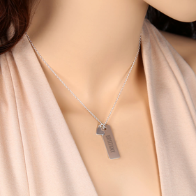 Engraved Bar Necklace With Heart Charm