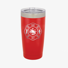 Custom Firefighter 20 oz Colored Coffee Tumbler w/Clear Lid