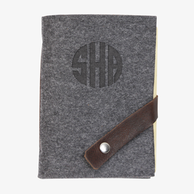 Monogram Felt Journal with Leather Strip & Snap Closure