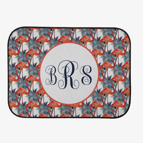 Custom Flamingo Monogram Back Car Mat