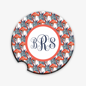 Custom Flamingo Monogram Car Coaster