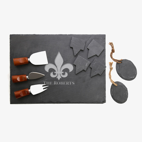 Custom Fleur-De-Lis 10-Piece Slate Cheeseboard & Party Tray