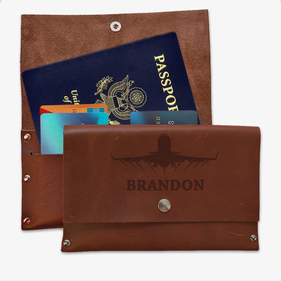 Custom Flight Genuine Leather Passport Cover Wallet