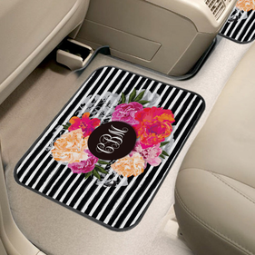 Custom Floral Monogram Back Car Mat