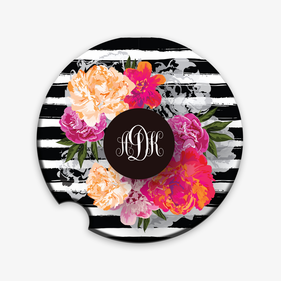 Custom Floral Monogram Car Coaster