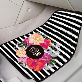 Custom Floral Monogram Front Car Mat