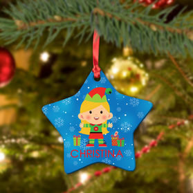 Custom Girl Elf Ceramic Star Ornament