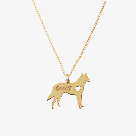 Personalized w/ Name Gold over Sterling Silver Pet Charm Necklace