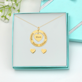 Custom Yellow or Rose Gold Over Silver Mom Engraved Necklace w/ Stud Heart Earrings Gift Boxed Set