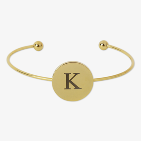 Custom Gold Stainless Steel Single Disk Slim Bangle Bracelet