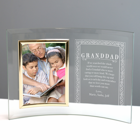 Custom Granddad Jade Glass Crescent With Picture Frame