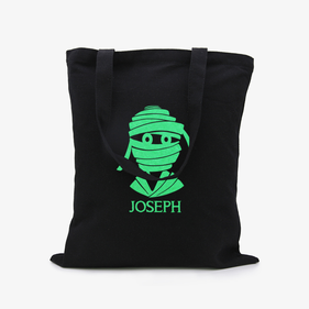 Custom Halloween Mummy Black Glow In The Dark Tote Bag