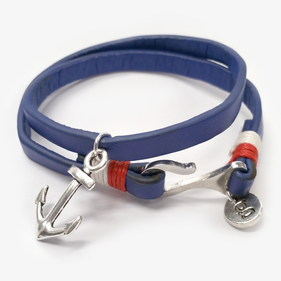 Custom Handmade Blue Leather Anchor Bracelet For Men