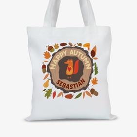Custom Happy Autumn Kids Monogram Large Trick or Treat Tote Bag