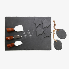 Custom Initial 10-Piece Slate Cheeseboard & Party Tray