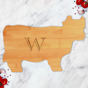 Custom Initial Bamboo Cow Shaped Cutting Board