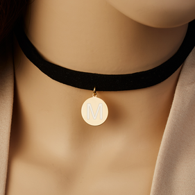 Personalized w/ Gold over Silver Initial Pendant Black Velvet Choker Necklace