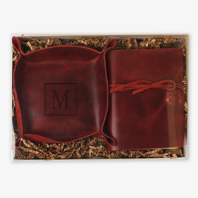 Custom Initial Boxed Stash Tray and Book Leather Gift Set
