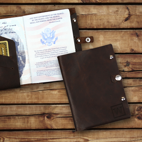 Custom Initial Genuine Leather Passport Holder