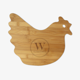 Custom Initial Hen-Shaped Bamboo Cutting Board