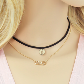 Gold Tone Initial Infinity Layered Black Leather Choker Necklace