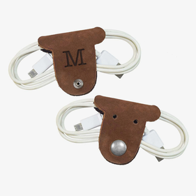 Custom Initial Kids Leather Puppy Cord Holder