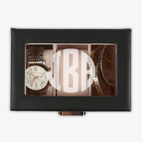 Custom Initial 3-slot Black Leather Watch Case