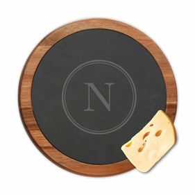 Custom Initial Round Slate Cheese Board w/ Acacia Wood Border