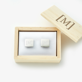 Custom Initial Square Cufflinks with Wooden Collection Box