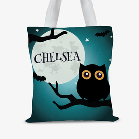 Custom Kids Happy Halloween Owl Large Trick or Treat Tote Bag