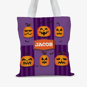 Custom Kids Happy Halloween Large Trick or Treat Tote Bag