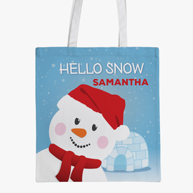 Custom Kids Snowman Tote Bag