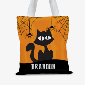 Custom Kids Witch Cat Large Trick or Treat Tote Bag