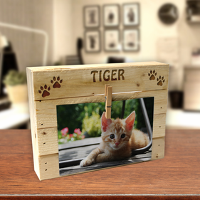 Custom Kitten Paw Print Wood Box Frame w/ Clip