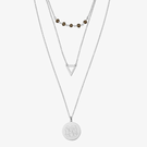 Sterling Silver Three Layer Monogram Disk Necklace