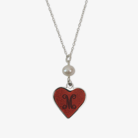 Heart Custom Leather Insert Silver Necklace w/ Pearl