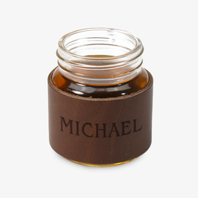 Custom Leather Mini Mason Jar 2 oz. Shot Glass