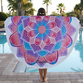 Custom Mandala Round Terry Beach Towel