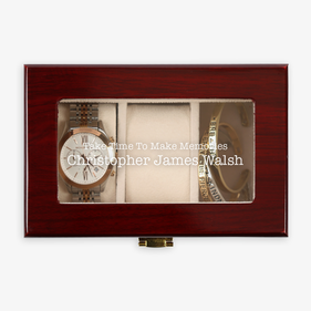 Custom Memories 3-Slot Cherry Finish Wood Watch Case